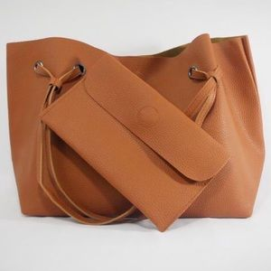 Brown tote with matching wallet